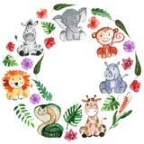 Animais dos amigos da selva da aquarela, África, folhas tropicais Fotografia de Stock Royalty Free
