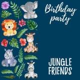 Animais dos amigos da selva da aquarela, África, folhas tropicais Foto de Stock