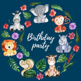 Animais dos amigos da selva da aquarela, África, folhas tropicais Imagens de Stock Royalty Free