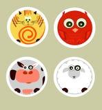 Animais dos desenhos animados ajustados Fotografia de Stock Royalty Free