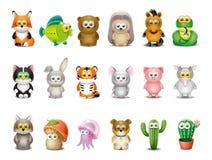 animais dos desenhos animados ajustados Fotos de Stock Royalty Free