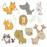 Animais dos desenhos animados ajustados Imagem de Stock