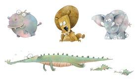 Animais dos desenhos animados de África (com trajetos de grampeamento) Fotos de Stock