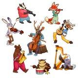 Animais dos desenhos animados do músico Fotografia de Stock Royalty Free