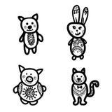 Animais dos desenhos animados doodle Fotos de Stock