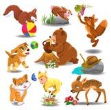 Animais dos desenhos animados na ação Ilustração do Vetor
