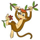 Animais dos desenhos animados para crianças O macaco bonito pequeno pendura Foto de Stock Royalty Free
