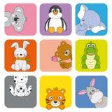 Animais e animais de estimação dos desenhos animados Fotografia de Stock Royalty Free