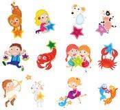 Animais e crianças ilustração royalty free