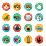 Animais e Flat Icons veterinário Imagens de Stock Royalty Free