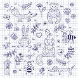 Animais e plantas do esboço Fotografia de Stock