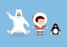 Animais e povos polares dos desenhos animados ilustração do vetor