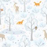 Animais e teste padrão da floresta Fotos de Stock