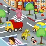 Animais em estradas transversaas ilustração stock