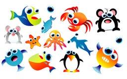 Animais engraçados ajustados Fotografia de Stock Royalty Free