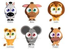 Animais engraçados ajustados para o uso como etiquetas, nos livros, jogos, tela a Imagem de Stock