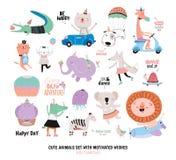 Animais engraçados bonitos e desejos motivado ajustados Fotos de Stock Royalty Free