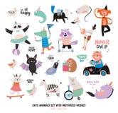 Animais engraçados bonitos e desejos motivado ajustados Foto de Stock
