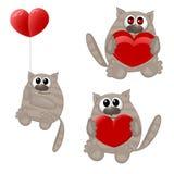 Animais engraçados com coração Fotos de Stock Royalty Free