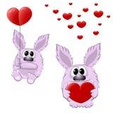 Animais engraçados com coração Imagens de Stock Royalty Free