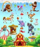Animais engraçados do circo, grupo de ícones do vetor Foto de Stock