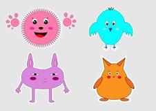 Animais engraçados dos desenhos animados Imagens de Stock Royalty Free