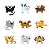 Animais engraçados dos desenhos animados Fotos de Stock