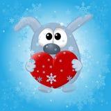 Animais engraçados no fundo do inverno Foto de Stock Royalty Free