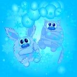 Animais engraçados no fundo do inverno Imagem de Stock Royalty Free