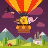 Animais felizes dos desenhos animados que voam no balão de ar quente Fotografia de Stock