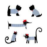 Animais franceses do estilo ajustados O bassê parisiense dos desenhos animados bonitos, o gato e o terrier escocês vector a ilust Fotos de Stock Royalty Free