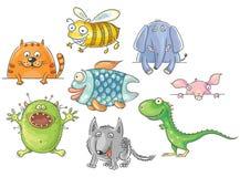 Animais grande-eyed engraçados dos desenhos animados ajustados Imagens de Stock Royalty Free
