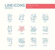 Animais - linha ícones do projeto ajustados ilustração stock