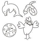 Animais - livro para colorir Fotografia de Stock Royalty Free