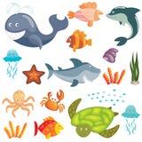 Animais marinhos ajustados Fotos de Stock Royalty Free