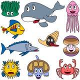 Animais marinhos dos desenhos animados ajustados [2] Foto de Stock