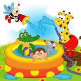Animais na associação inflável ilustração stock