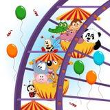 Animais na roda de ferris ilustração do vetor