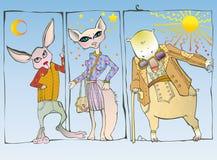 Animais na roupa ilustração royalty free
