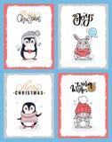 Animais no pano morno, cartões dos desenhos animados de Natal ilustração royalty free