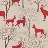 Animais no teste padrão da floresta do outono Folhas e árvores da queda sem emenda Fotos de Stock Royalty Free