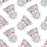 Animais pequenos da floresta Teste padrão sem emenda 3 da aquarela do urso de peluche Imagens de Stock Royalty Free