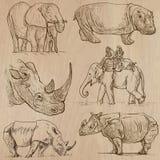 Animais pesados - vector o bloco, desenhos da mão Fotos de Stock Royalty Free