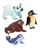 Animais polares engraçados ilustração do vetor