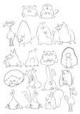 Animais preto e branco dos desenhos animados Imagem de Stock