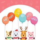 Animais que guardam balões ilustração stock