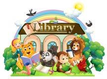 Animais que leem na frente da biblioteca Foto de Stock