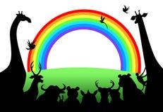 Animais que olham o arco-íris Fotografia de Stock