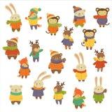 Animais que vestem a roupa morna Jogo da ilustração do vetor Fotos de Stock Royalty Free