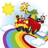 Animais que viajam pelo carro sobre o arco-íris Fotos de Stock